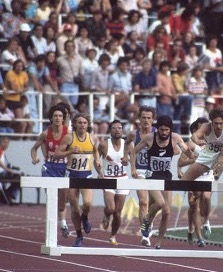Euan Robertson runs the Olympic steeplechase final in Montreal - 1976