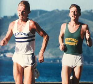 This is the only photo I have of me competing in the Joseph Kutze 5K Series. I'm racing in a Croydon vest, which tells me this must have been circa 1987/8. With me is Gavin Teahan. Gavin was a very promising up and coming steeplechaser and by the looks of it in his photo is pushing me very hard. I recall winning this battle in a time of around 13:55, the fastest I ever recorded on the waterfront course which is why I remember (also aided with a good tail wind home no doubt!).